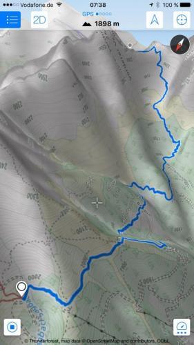 """Screenshot Kartenmaterial - Eindruck der verwendeten App """"Maps 3D"""""""